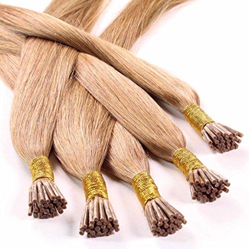 Hair2heart Microring Stick Extensions, 25 x 1 g echt haar, glad 60cm #12 Honing blond