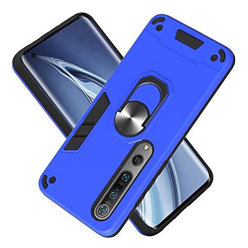 Armure Coque Xiaomi Mi 10 5G/Mi 10 Pro 5G, Boîtier PC + TPU Double Layer Housse résistant aux Chocs avec Support à Anneau Rotatif à 360 degrés (Bleu foncé)