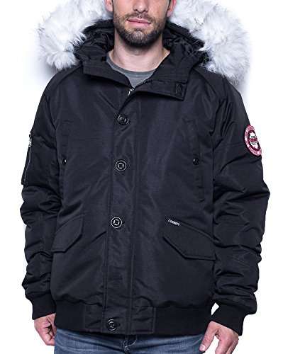 Legender`s Man Schwarze Jacke mit Pelzkragen Winter - Size: L/XL, Color: Schwarz