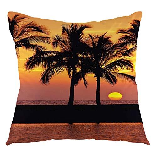 FULIYA Palm Tree Throw Pillow Cushion Cover Caribbean Horizon Dusk Time Romantic Peaceful Tranquil Coastal Charm Scenery Decorative Square Accent Pillow Case, 22' X 22',PrintedOrange Black