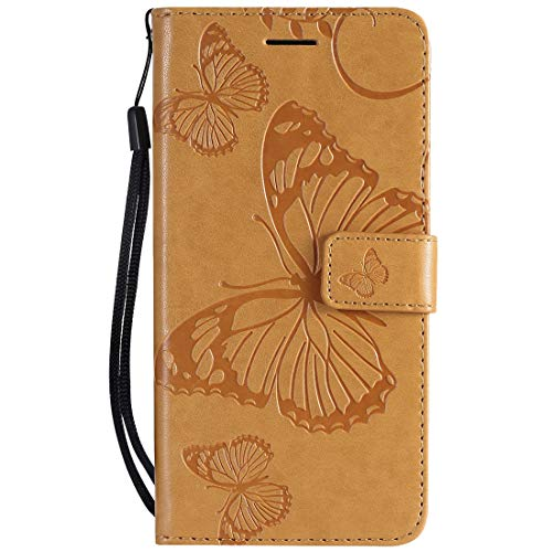 Yiizy Handyhüllen für Huawei Honor 8A Ledertasche, Schmetterling 3D Stil Lederhülle Brieftasche Schutzhülle für Huawei Honor Play 8A hülle Silikon Cover mit Magnetverschluss Kartenfächer (Braun)