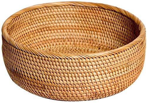Bocadillos de la cesta de frutas Cesta de frutas tejidas a mano Sala de estar Bambú Snack Cesto Candy Cesta de verduras Caja de almacenamiento,Large