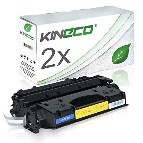 Kineco 2 Toner kompatibel zu HP CE505X /05X Laserjet P2055D, Laserjet P2056, Laserjet P2057, Laserjet P2054, Laserjet P2053 - Schwarz je 6.500 Seiten