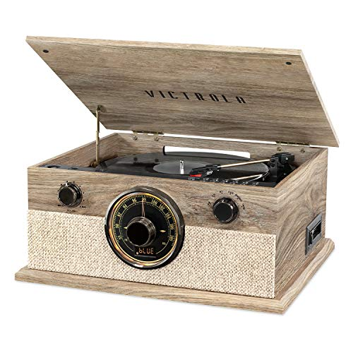 Victrola Brookline Style 6-in-1 Bluetooth Record Player & Multimedia Center with Built-in Speakers - 3-Speed Turntable, CD & Cassette Player, FM Radio, Wireless Music Streaming, Farmhouse Oatmeal