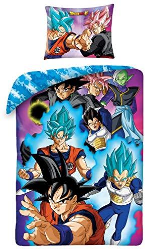 Juego de cama Dragonball Super ProTAGONISTI Goku Vegeta Funda nórdica con funda azul reversible funda nórdica y funda de almohada - Multicolor - 100% algodón - 140x200 cm +70x90 cm