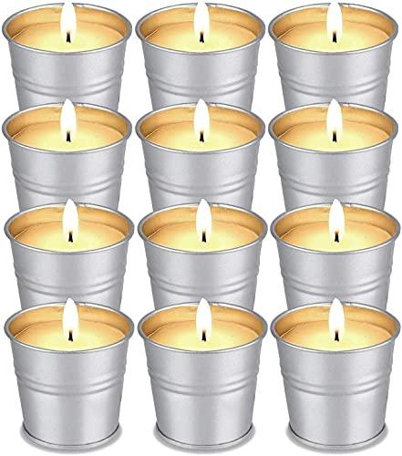 Set di 12 Citronella Candele - FURNIZONE Candele Alla Citronella Set Regalo per Esterno Giardino 100% Cera di Soia Naturale per Terrazza Campeggio Riunioni di Famiglia 120-180 Ore Bruciando