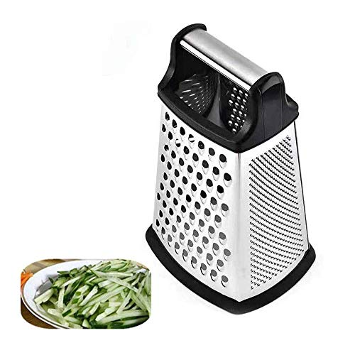 Professional Box Grater, Multi-function Grater & Shredder, Stainless Steel with 4 Sides, Best for Cheese, Vegetables, Ginger