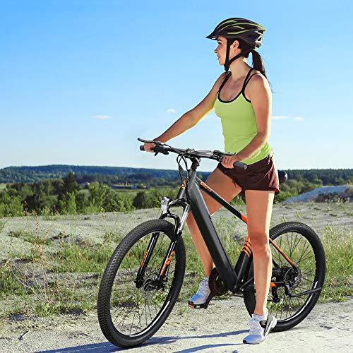 Bicicletas eléctricas para los Adultos, Mountain Ebike 27,5 Pulgadas On/Off-Road 250W 25 km/h con 36V 10.4Ah Batería de Iones de Litio Shimano 7 velocidades Adultos EU - Naranja Negro [EU Direct]