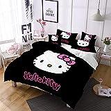 DDONVG Hello Kitty - Juego de funda de edredón y funda de almohada (algodón, 135 x 200 cm, funda de almohada de 50 x 75 cm, 140 x 210 cm), diseño de gato