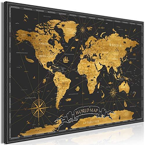 murando Quadro Mappamondo 120x80 cm 1 pezzo Stampa su tela in TNT XXL Immagini moderni Murale Fotografia Grafica Decorazione da parete Mappa del mondo Continenti nero or k-A-0490-b-a