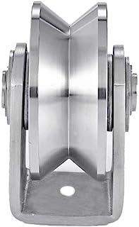 Joyoya Stainless Steel Groove Wheel Heavy Duty Track Wheel Rigid Caster Sliding Gate Roller Wheel V/U/H Groove Wheel Double Bearing for Swing Sliding Gate