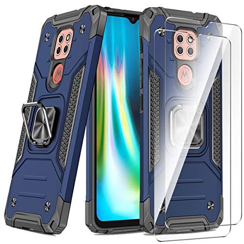 WLSM Funda para Motorola Moto G9 Play/Moto E7 Plus/Moto G9 + 2 Cristal Vidrio Templado Protector de Pantalla, Anti-Choque Carcasa con 360 Grados Anillo iman Soporte, Hard Silicona TPU Caso - Azul