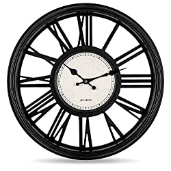 Bernhard Products Decorative Wall Clock 18 Inch Silent Non Ticking Extra Large Quartz Battery Operated Black Roman Numerals for Living Room/Kitchen/Dining Room & Over Fireplace, Wedding Gift
