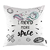 oFloral Unicorn Throw Pillow Cover Cute Pink Hair Girl Unicorn in Space Decorative Square Pillow Case 18'X18' Pillowcase Home Decor for Sofa Bedroom