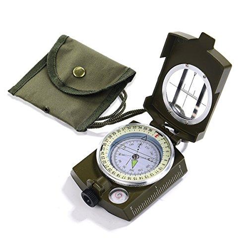 Rrunzfon - Bussola militare portatile impermeabile munita di astuccio con cordino, per l'orientamento durante la navigazione, per escursionismo, campeggio, caccia, ciclismo, attività all'aperto