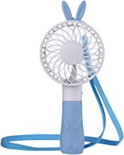 Tempo Portable Mini Hand Fan Personal Necklace Fan Handheld Air Fan for Travel, Home,Shopping and Office, USB Rechargeable, 4 Blades, 1 Switch, 2 Speeds Adjustable-(Blue Rabbit)