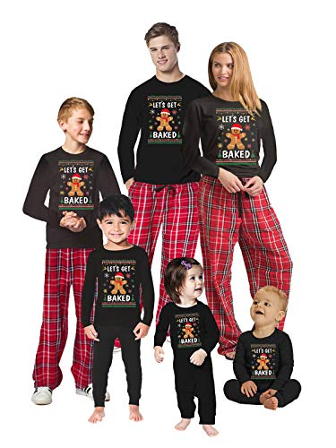 Let's Get Baked Gingerbread Design PJ - Christmas Matching Pajama Sets - Holiday Xmas for Family Men PJ Set Red L