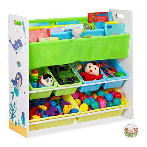 Relaxdays niños, 6 Cajas, 4 Compartimentos de Tela, diseño de Sirena, estantería para Juguetes, 78 x 86 x 26,5 cm, Multicolor, Sirenita, 1 Unidad