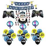 Gaming Cumpleaños Decoracion Videojuegos Globos Gaming Globos de Aluminio Pancarta de Feliz Cumpleaños de Gaming Adornos para Pastel de Videojuegos