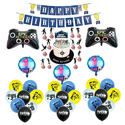 smileh Vidéo Game Anniversaire Decoration Jeu Vidéo Ballon Thème de Jeu Ballon Aluminium Happy Birthday Bannière de Jeu Vidéo Game Decoration Gâteaux