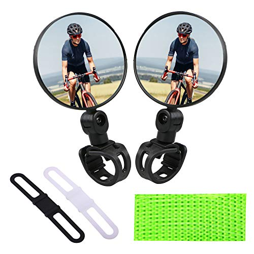 Bike Mirrors 1 Pair Bicycle Cycling Rear View Mirrors Handlebar Mounted Rotatable Adjustable Convex Mirror Comes with 2 Slilicone Mounts amp 1 Reflective Sticker5PCS