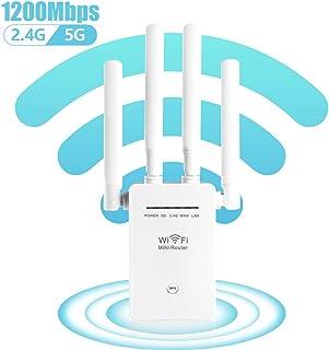 Extensor de alcance WiFi de 1200 Mbps, Carantee repetidor de señal inalámbrico 2.4 y 5 GHz de doble banda 4 antenas de cob...
