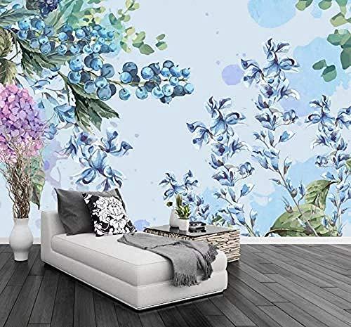 Papiers peints Fruit Blueberry Leaves Papier Peint 3D Salle de séjour Chambre à coucher Salle de séjour Mural murale enfant-300cm×210cm
