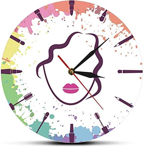 Gran decoración de la pared reloj de la pared de la muchacha hermosa maquillaje artista de la moda colgando reloj de la pared maquillaje elementos con la cara de la mujer reloj de la pared de la belle
