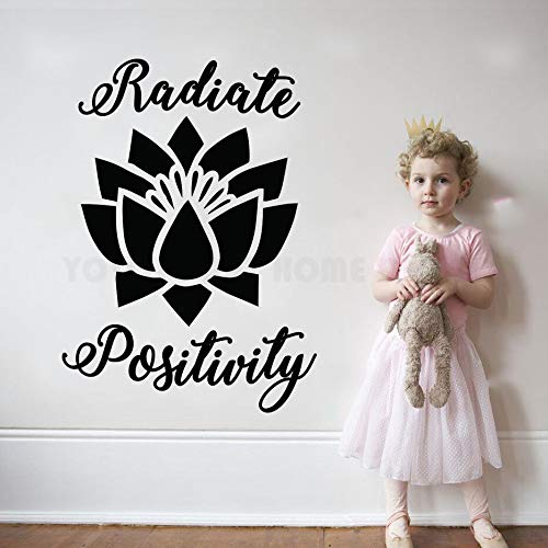Radiate Positivty Flor de Loto Cita Tatuajes de Pared de Vinilo decoración Inspirada Pegatinas Namaste Good Vibes Buda Mural 42X60CM