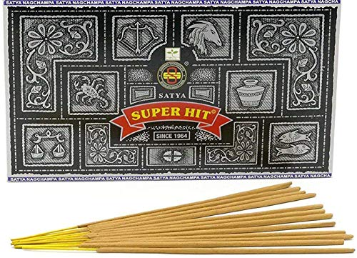 Incense Sticks & Cones Satya Nag Champa Super Hit Palos Incienso, Madera, Multicolor, 22 x 13 x 8...