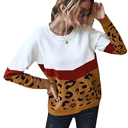 Chaqueta de suéter de Manga Larga de Moda para Mujer Chaqueta de suéter con Estampado de Leopardo de Tendencia de otoño/Invierno Top