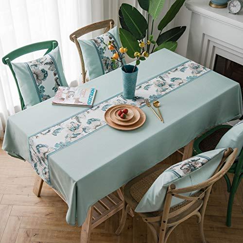 Creek Ywh tafelkleed, waterdicht, Europese, klassiek, eenkleurig, met borduurwerk van katoen en linnen, rechthoekig, tafelkleed met rand, mintgroen, 135 x 135 cm