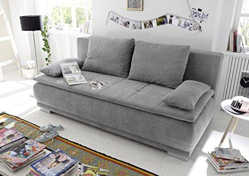 Stella Trading Luigi Lux.3DL Sofabett, Microvelour, Uran 02 Schlamm, 208 x 93 x 105