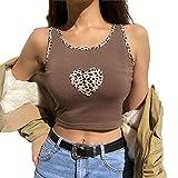 GuliriFe Y2K - Camiseta de manga larga para mujer, diseño de estampado de leopardo, de patchwork, cuello redondo marrón XS