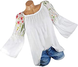 Big Fashion Women O-Neck Blouse Floral Embroidery Lace Flare Sleeve T-Shirt Tops