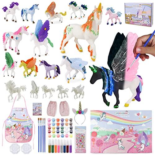 BONNYCO Unicornios para Niñas Figuras para Pintar Kit con 18 Unicornios Manualidades Niñas con Brillo en la Oscuridad | Juguetes Niña 3 4 5 6 7 8 9 10 Años Regalos Niña Cumpleaños, Navidad
