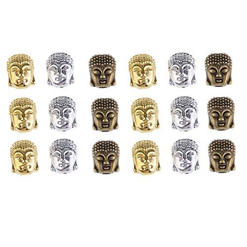 joyMerit 18 Piezas, 3 Colores, Forma de Cabeza de Buda, Cuentas Sueltas, Fabricación de Joyas, Amuletos, Accesorios para Decoración de Ropa
