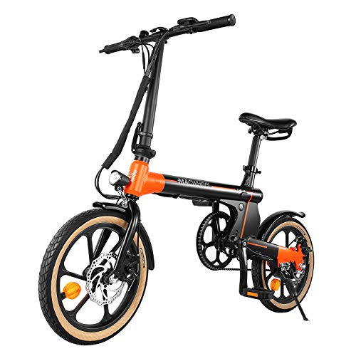 "Macwheel Electric Bike 16"" Small Electric Bicycle, 250W eBike with 36V 7.5Ah Large Capacity Battery, 3 Riding Modes for Adults and Teenagers, Dual Disc Braking, Folding Ebike with Pedals"