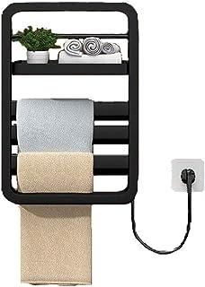 Radiador Toallero, Toallero Eléctrico de Pared,Aluminio,Blanco,560 * 380mm,55W,Radiador Secador de Toallas,para Baño Con Estilo Diseño Moderno (Color : Negro)