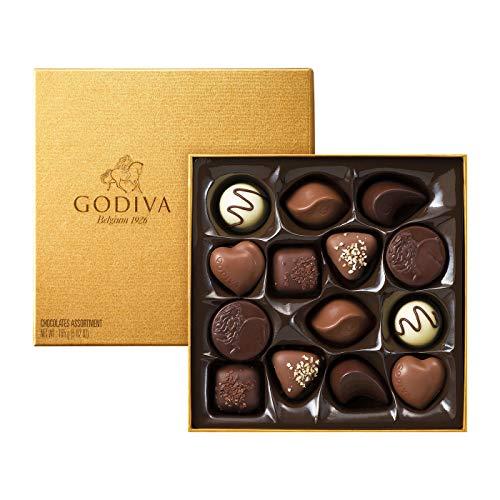 Godiva, Gold Rigid Box bombones pralinés surtidos caja regalo 14 piezas, 165g (FG72810)