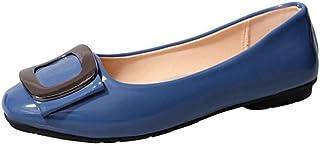 [WOOYOO] ペタンコ靴 レディース バックル付き お洒落パンプス エナメル バレエシューズ フラット 女の子 オフィス スクエアトゥ 歩きやすい 軽量 クッション 婦人靴 パーティー 通勤 甲浅 ブラック