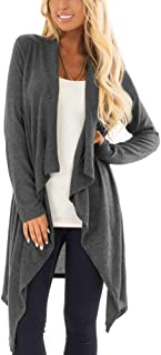 Women's Button Wrap Irregular Hem Long Sleeve Cardigan