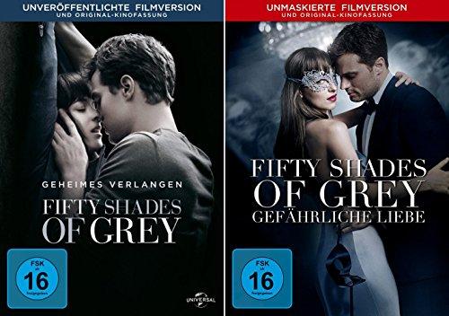 Fifty Shades of Grey - 1 Geheimes Verlangen + 2 Gefährliche Liebe (Unmaskierte Filmversion) im Set - Deutsche Originalware [2 DVDs]