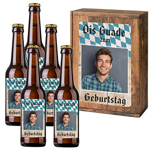 Personalisiertes Bier mit Wunschtext und Foto   5 x 0,33 l Dinkelbier als Geschenkset   Persönliche Geschenkbox zum Geburtstag (Geschenkbox mit 5 Fl, Bayrisch)