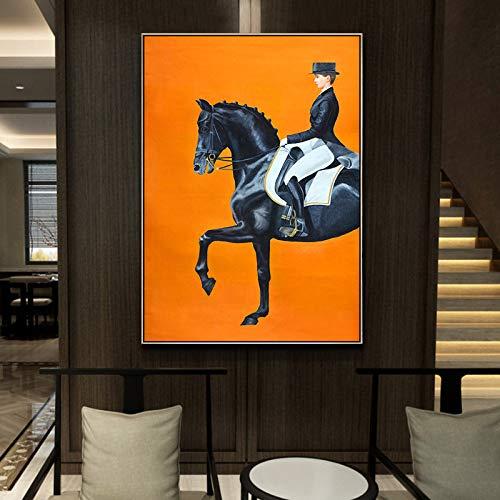 Reitsportdruck Kunst Leinwand Gemälde Poster, Pferd Wandbild für Wohnzimmer Home Decor kann 50x70cm angepasst werden