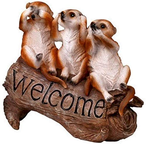 aipipl Garden Ornaments Outdoor Mongoose Welcome Sign Greenland Welcome Sign Pastoral Style Animal Decoration Villa Decorations