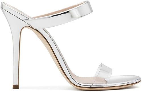 SHINIK Femmes Chaussures PVC Europe Europe Europe Et Les états-Unis Femmes Sandales à Talons Hauts Pantoufles été éclairer Les Chaussures Talons Talon Stiletto d06