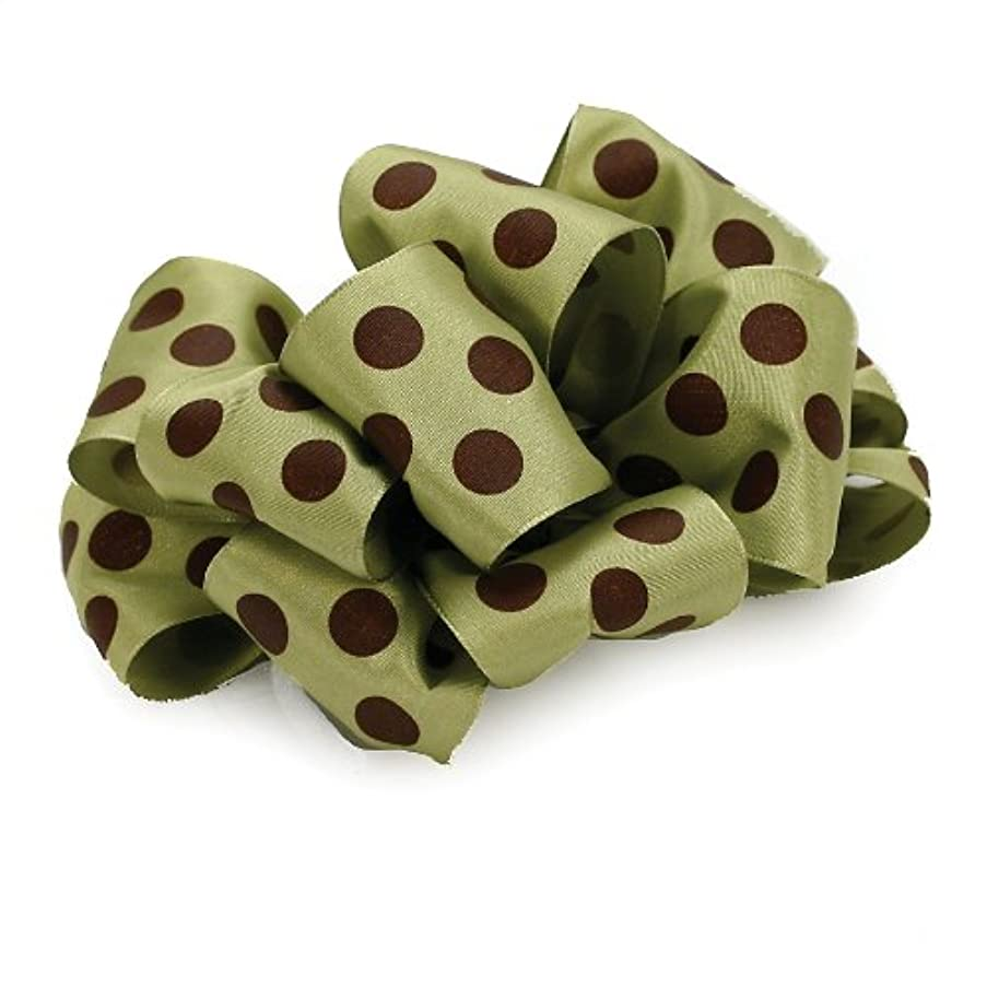 Offray Wired Edge Ringleader Dots Craft Ribbon, 2-1/2-Inch Wide by 10-Yard Spool, Green/Brown