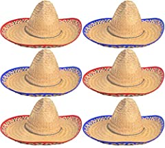 "6 SOMBREROS - Hats are made of high quality straw & has a funky red or blue brim border. You will get 3 of each color. FITS ADULTS - Hat Size: 22.5"" circumference Fits Most Adult & some teens CINCO DE MAYO - This spectacular sombrero exudes an authen..."