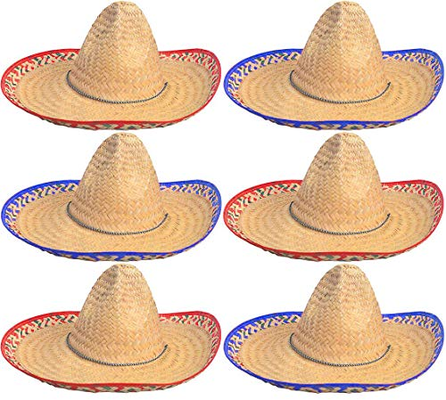 4E's Novelty Sombrero Party Hats Adults [6 Pack] Mexican Sombrero Hat for Cinco de Mayo, Fiesta Party Hat Decorations, Summer Taco Party, Costume Hat